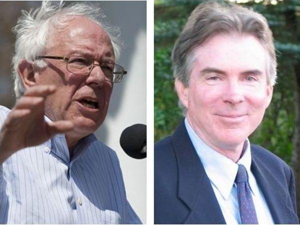 Sen. Bernie Sanders, left, and challenger John MacGovern, right.