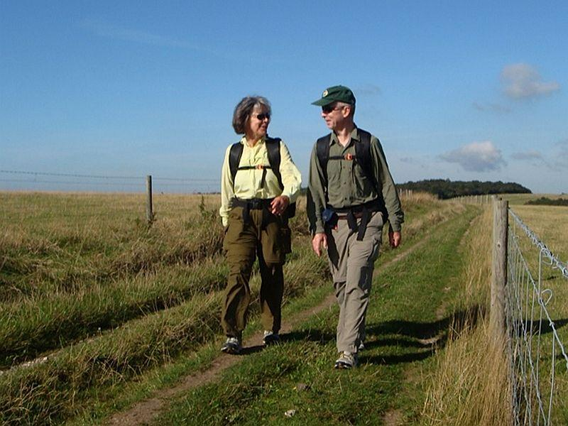The Mannings walking on the South Downs way.