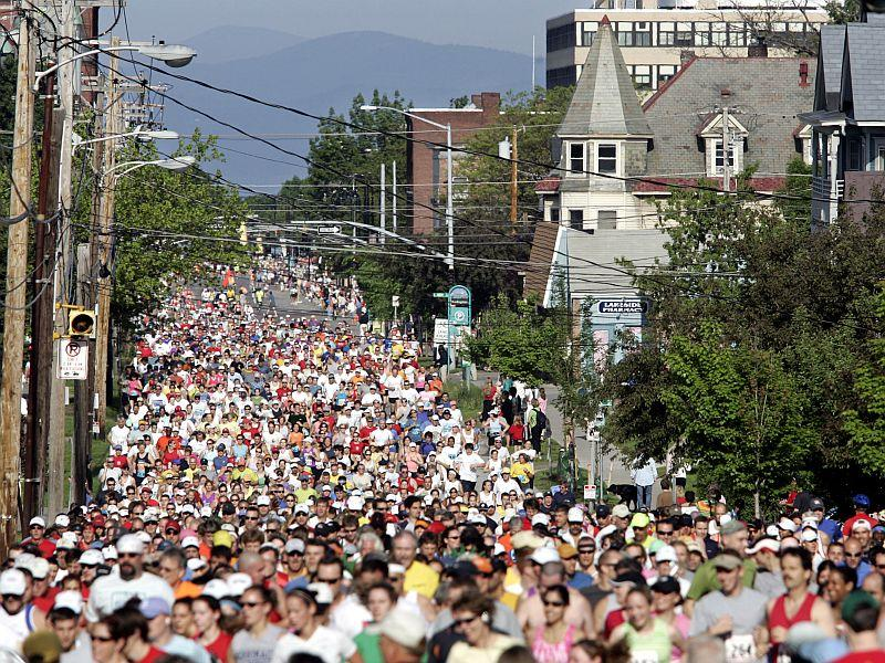Runners fill Pearl Street as they start the first mile of the 2006 Vermont City Marathon in Burlington.