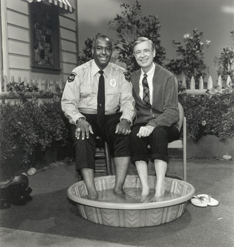 Francois Clemmons in character as Officer Clemmons with Fred Rogers. Clemmons played the character for almost 25 years on Mr. Rogers' Neighborhood.