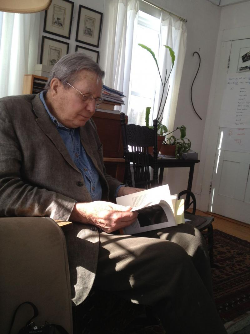 Poet Galway Kinnell in his Sheffield study.
