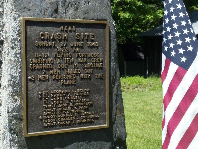 A memorial marker stands near the site of a 1943 crash of a B-17