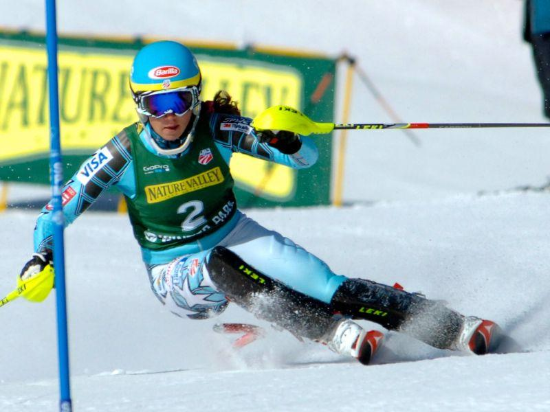 Mikaela Shiffrin competes in slalom event at US Nationals in Winter Park, CO, 2012