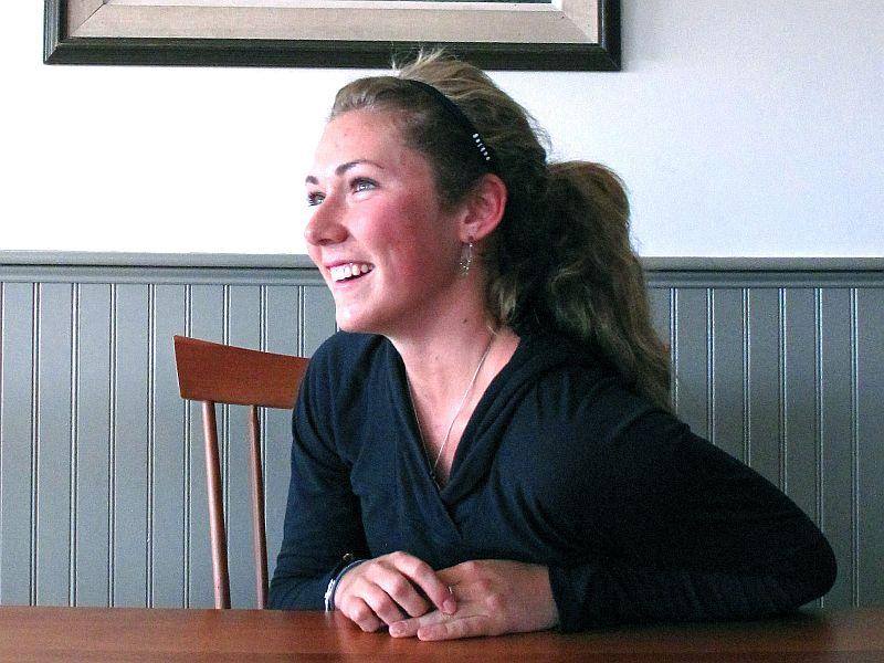 Mikaela Shiffrin relaxes at Burke Mountain Academy, where she will graduate in June.