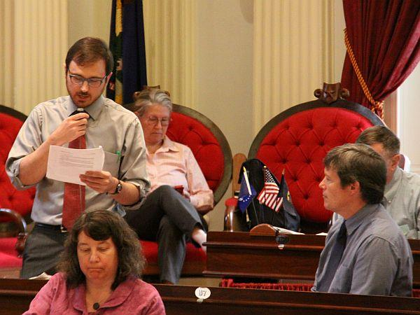 Rep. Teo Zagar, D-Barnard, says Vermont should adopt GMO labeling to promote food safety and protect public health. The House suspended its rules Thursday so Zagar, a lead sponsor of the bill, could cast the first vote. The bill passed 107-37.