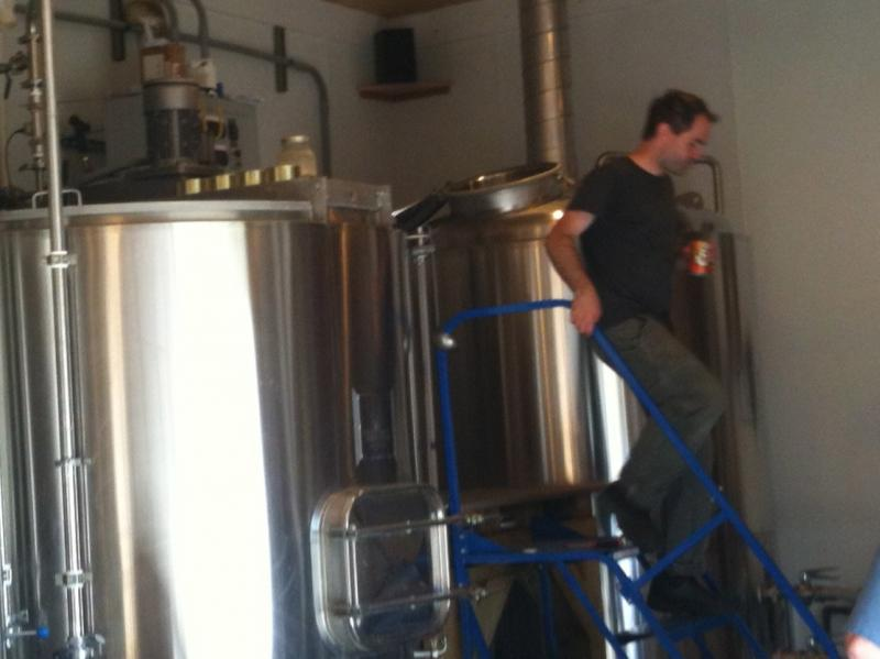 Shaun Hill checks on a batch of beer at Hill Farmstead Brewery.