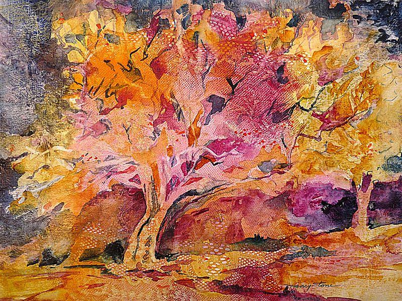 """Red Oak,"" (watercolor on modeling paste)"