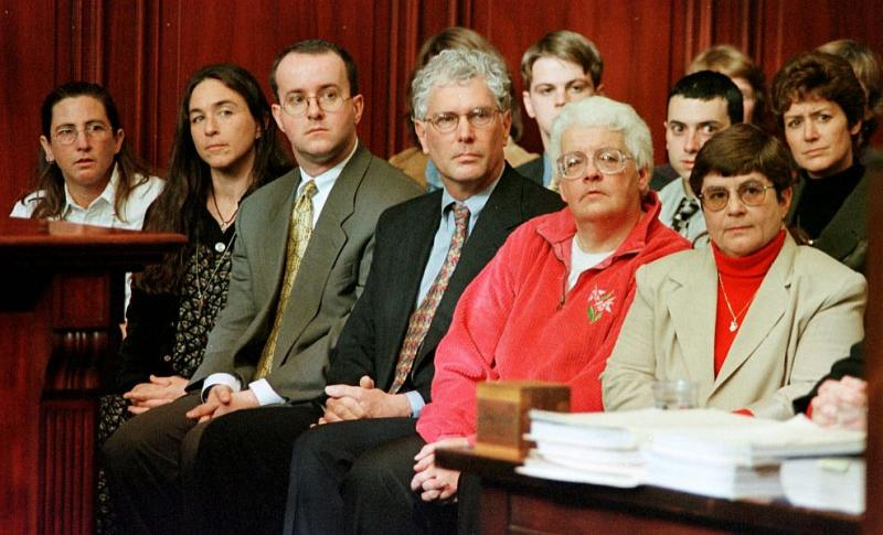 Three couples who challenged Vermont's marriage laws watch arguments at the Vermont Supreme Court in Montpelier, on Nov. 18, 1998. From left are, Stacey Jolles, Nina Beck, Peter Harrigan, Stan Baker, Lois Farnham and Holly Puterbaugh.