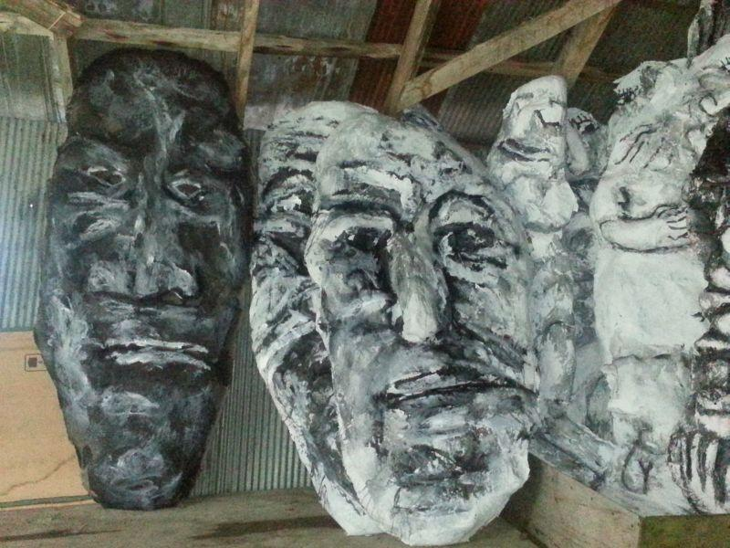 Giant masks used in performances are stored at Bread and Puppet's farm.