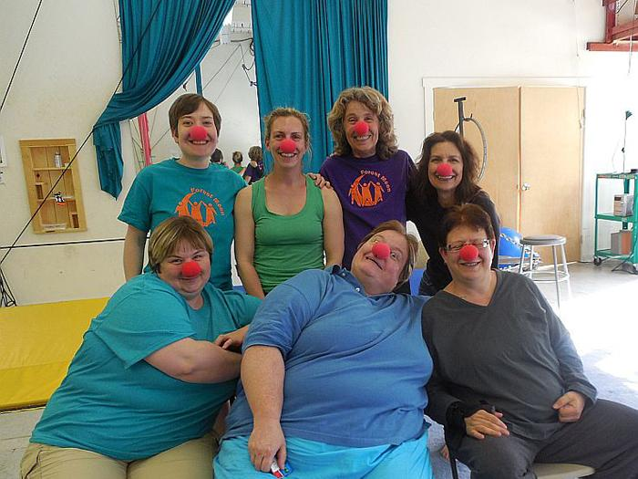 Participants in the Spring circus workshop in Brattleboro. Britta Reida stands, left, Suzanne Rappaport is to her right.