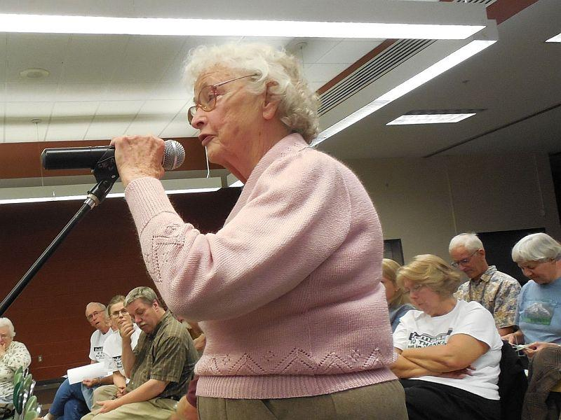 Jean Willard, 89, expressed concerns about the plant's impact on drinking water.
