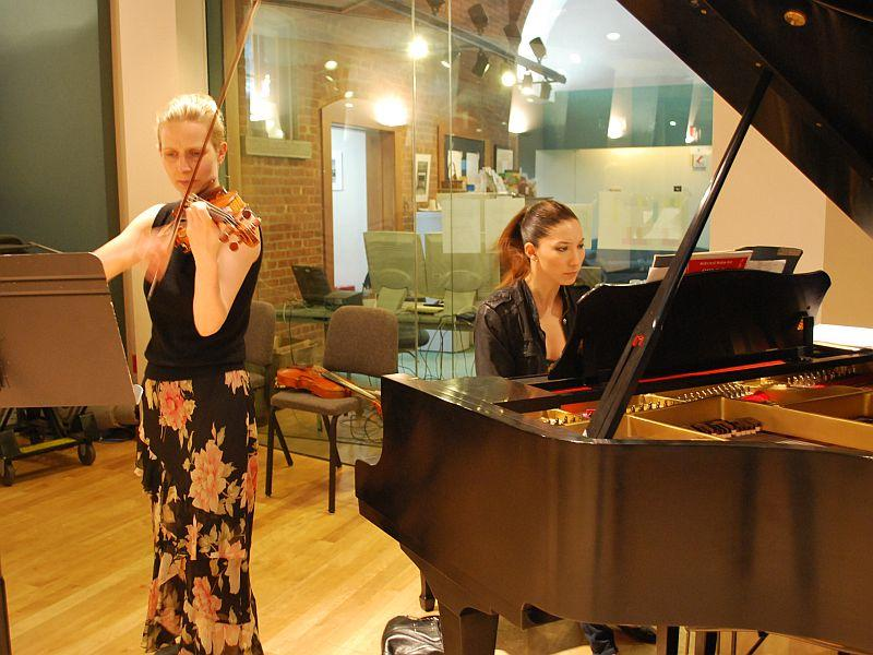 Helena Baillie and Tanya Gabrielian warm up in the VPR Performance studio prior to their live performance