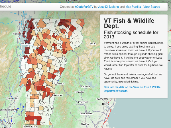 A new app, created using open data from Vermont's Fish & Wildlife Department