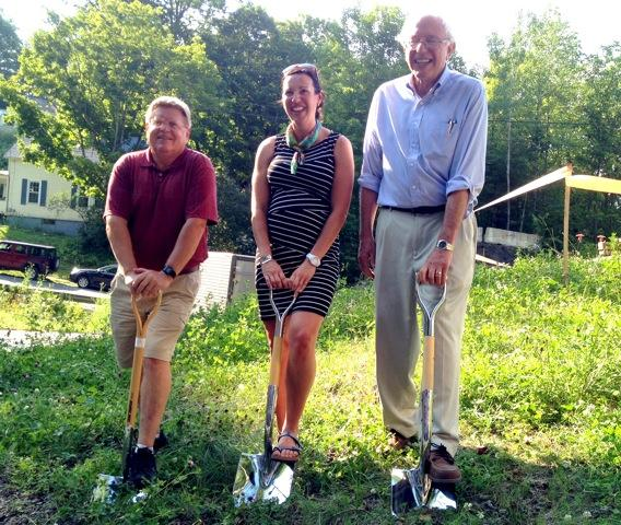 Laird MacDowell, Alexis Nelson, and Senator Bernie Sanders at the groundbreaking of the Lamoille Valley Rail Trail in St. Johnsbury