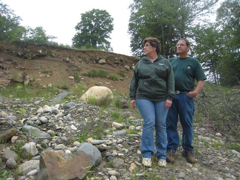 Tropical Storm Irene washed away about a third of Sheila and Russell Bartel's land in Newfane