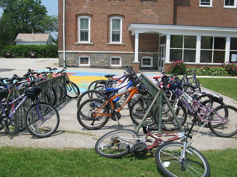 Bikes are parked at the North Bennington Graded School. In the fall it will reopen as the North Bennington Village School.