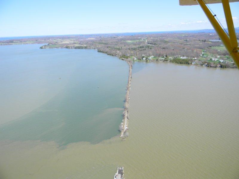 A sediment plume is seen in spring at the mouth of the Lamoille River where is empties into Lake Champlain.