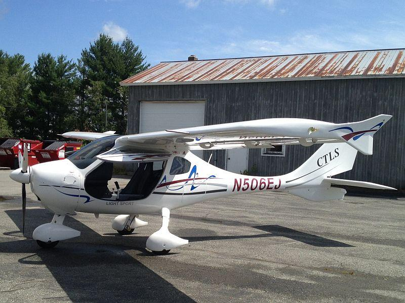 The CTLS, a lightweight aircraft, parks at the state airport at Coventry.