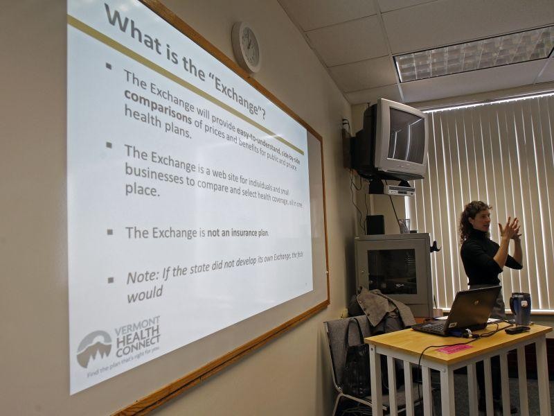 This photo taken March shows Lindsey Tucker, Deputy Commissioner of the Department of Vermont Health Access, speaking to a group in Newport, Vt., to explain Vermont's health care exchange program