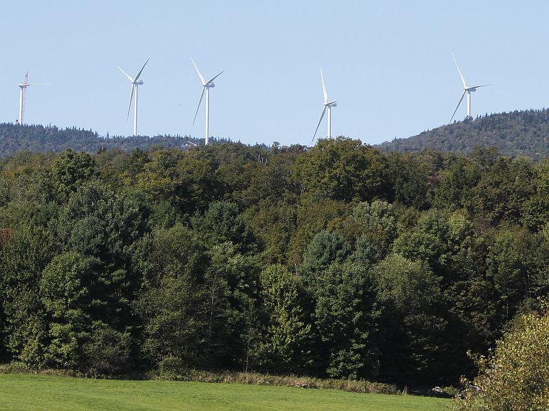 In this Sept. 12, 2012 photo, wind towers are seen on Lowell Mountain from Craftsbury, Vt.