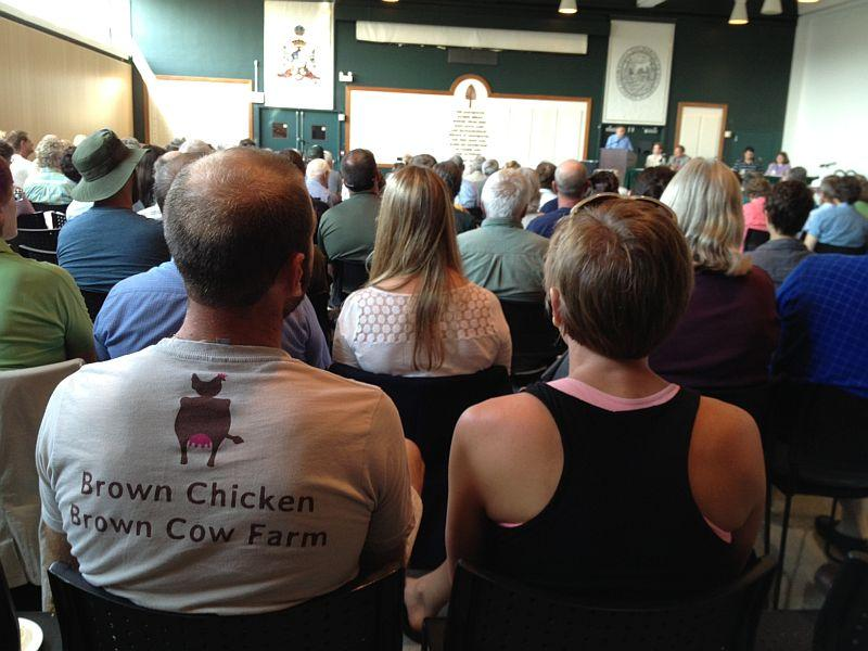 Over a hundred farmers from Vermont and New Hampshire aired concerns about new food safety rules proposed by the FDA at a hearing in Hanover, NH.