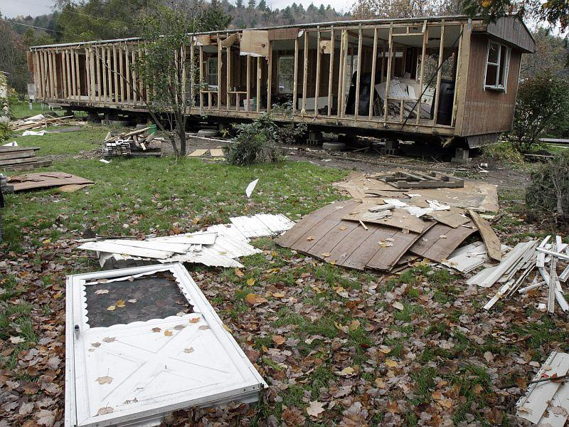 A mobile home ruined by Tropical Storm Irene in Weston's Mobile Home Park in October of 2011 in Berlin, Vt.