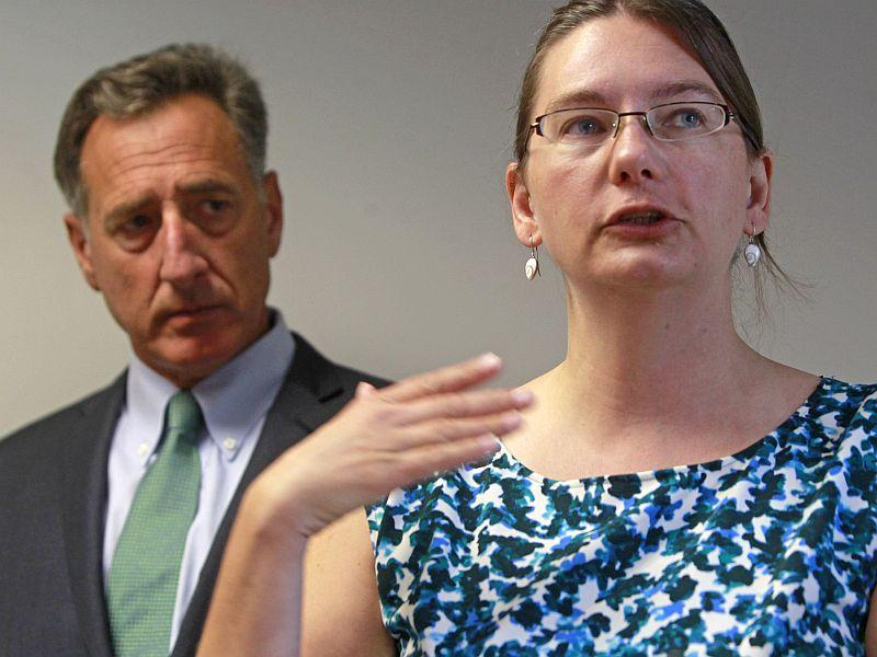 The Scott administration says an apparent clerical error is grounds to invalidate Gov. Peter Shumlin's appointment of Robin Lunge, right, to the Green Mountain Care Board.