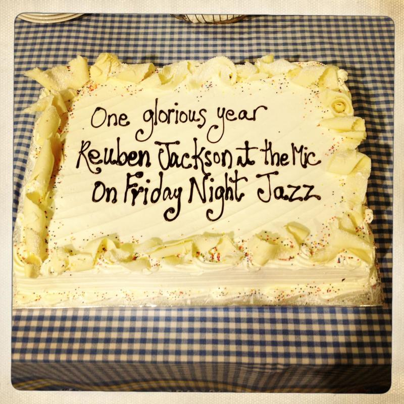 A custom haiku cake to celebrate a year of Friday Night Jazz