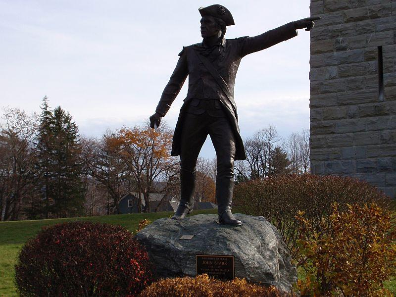 "A statue of Gen. John Stark at the base of the Bennington Battle Monument in Bennington, Vt. Author Phil Holland joined ""Vermont Edition"" to share some history about the Battle of Bennington, in which Stark led the American forces."