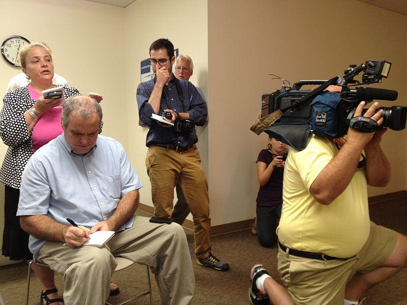 Media at press conference respond to news that Vermont Yankee will close in 2014.