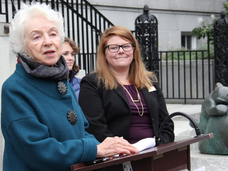 Former Governor Madeleine Kunin with Rep. Sarah Buxton.