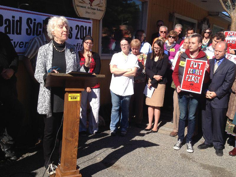 Former Gov. Madeleine Kunin speaks out in support of legislation that would require companies to offer workers up to 56 hours a year of paid sick time a year.