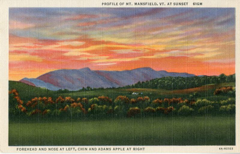 Vintage postcard of Mount Mansfield by C.W. Hughes, Inc., Mechanicville, NY, published by Curteich-Chicago
