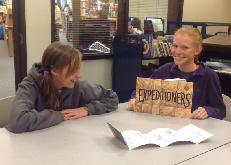 U-32 Middle School students Lucy Wood and Ruby Lamb discussing S.S. Taylor's The Expeditioners and the Treasure of Drowned Man's Canyon