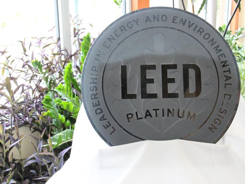 The LEED Platinum award for UVM's Aiken Center.