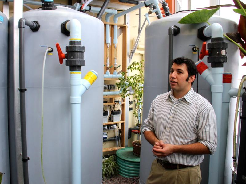 UVM Research Specialist and Lecturer Matt Beam explains the EcoMachine, which he designed as a Masters student.