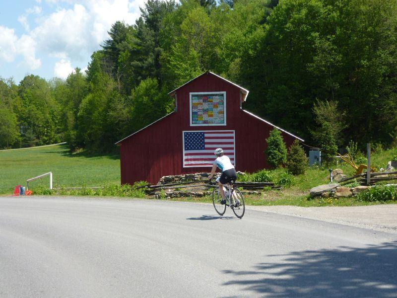 A cyclist participates in bike tour through Vermont.