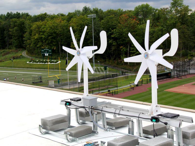 New turbines are on the roof of Hoff Hall at Castleton State College.
