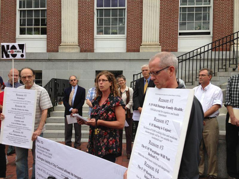 Burlington City Council member Rachel Siegel speaks at an event announcing plans to introduce a resolution that would bar F-35s at the city owned airport