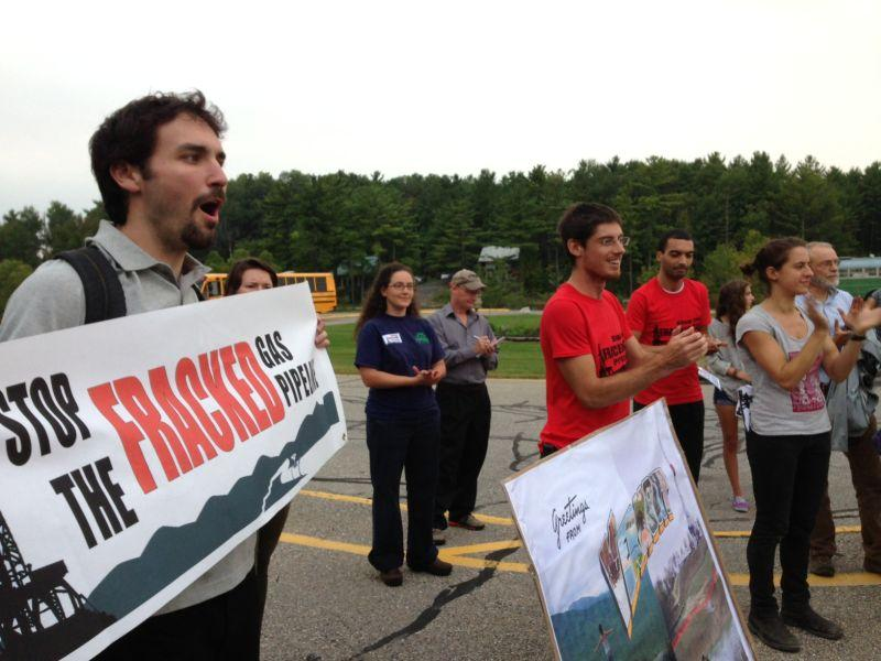 Opponents of the Addison County pipeline  held a rally prior to the public hearing in Middlebury