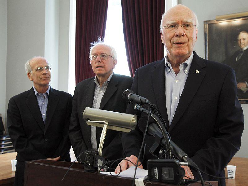 Sen. Patrick Leahy, right, Sen. Bernie Sanders, center, and Rep. Peter Welch