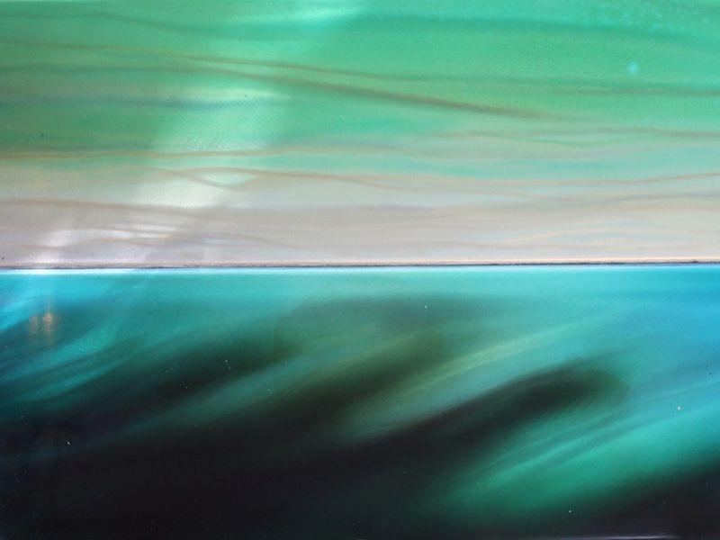 "Detail of Homer Wells' painting, ""Green River"" auto paint on spun aluminum"