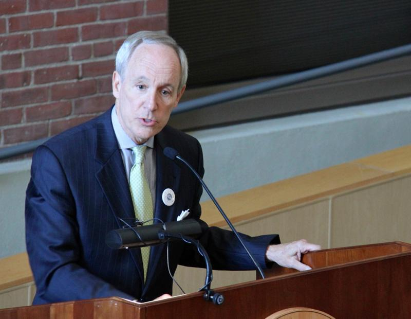 UVM President Thomas Sullivan speaking at a ceremony this week.