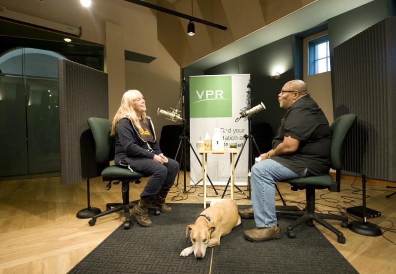 Rickie Lee Jones speaks with VPR's Reuben Jackson as her dog, Juliet, takes a nap.