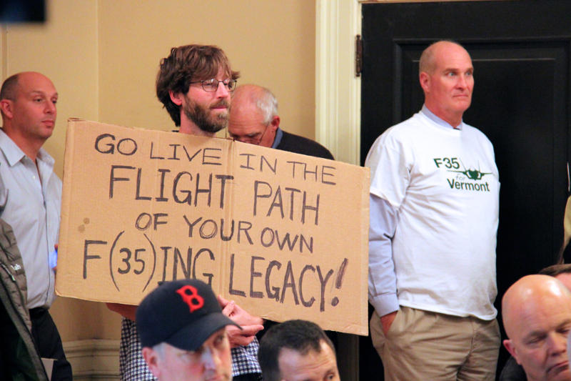 An activist against the F-35 at Burlington City Council's Oct. 28 special meeting.
