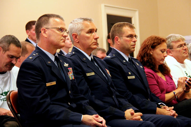 Major General Steve Cray, left, with other Vermont National Guard leaders at the Oct. 28 Burlington City Council meeting.