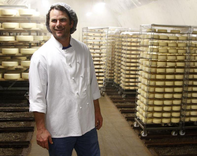 Co-owner Mateo Kehler tours cellars at Jasper Hill