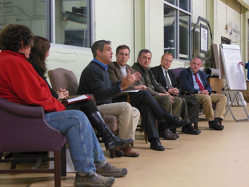 Rutland Renaissance Forum held Tuesday night in Rutland to discuss grassroots priorities for the city. Pictured: Joe Fusco, Steve Costello, Paul Gallo,  Lyle Jepson, and Dr. Mark Logan.