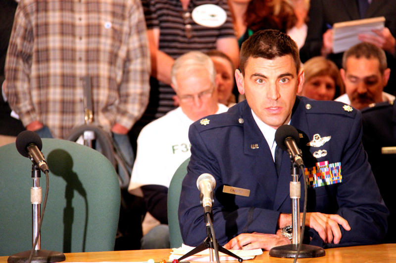 Vermont Air National Guard Lt. Col. Chris Caputo spoke in favor of the F-35.
