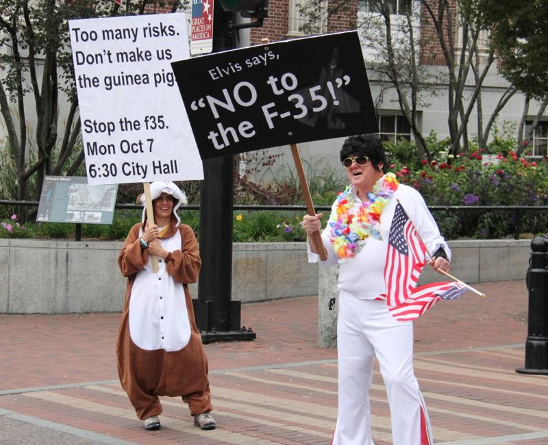 Human guinea pigs rally against f 35 in burlington vermont public along with the guinea pigs an elvis impersonator arrived in costume at the protest publicscrutiny Image collections